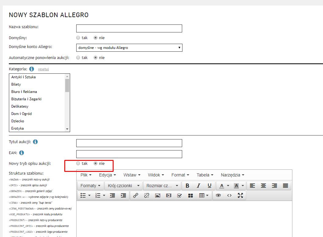 Opcja nowy szablon Allegro