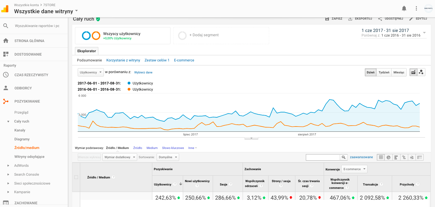 Google Analytics wyniki