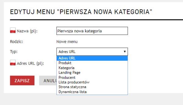 Edycja menu wlasnego